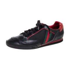 Gucci Black/Red Mesh Fabric Vintage Tennis Web Low Top Sneakers Size 45