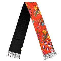 GUCCI Black & Red Silk / Cashmere Reversible Pocket Fringe Scarf