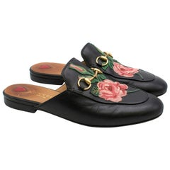Gucci Black Rose Embroidered Princetown Slippers 37.5