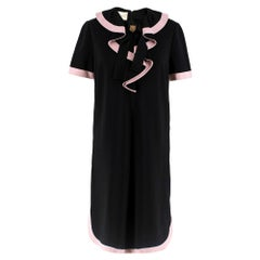 Gucci Black Ruffle Front Dress W/ Pink Trim M