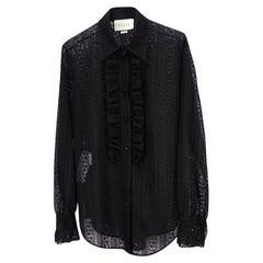 Gucci Black Ruffle Stripped Lace Shirt - Size 42 (572339)