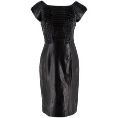 Gucci Black Ruffled Leather Fitted Dress