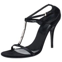 Gucci Black Satin Crystal Embellished T-strap Sandals Size 41