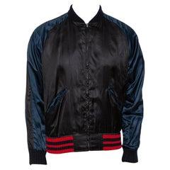 Gucci Black Satin Eagle Embroidered Bomber Jacket L