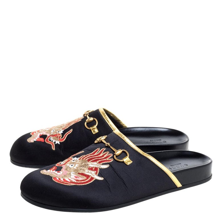 Women's Gucci Black Satin Embroidered Horsebit Mules Size 40 For Sale