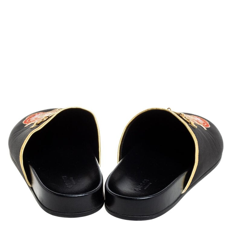 Gucci Black Satin Embroidered Horsebit Mules Size 40 For Sale 1