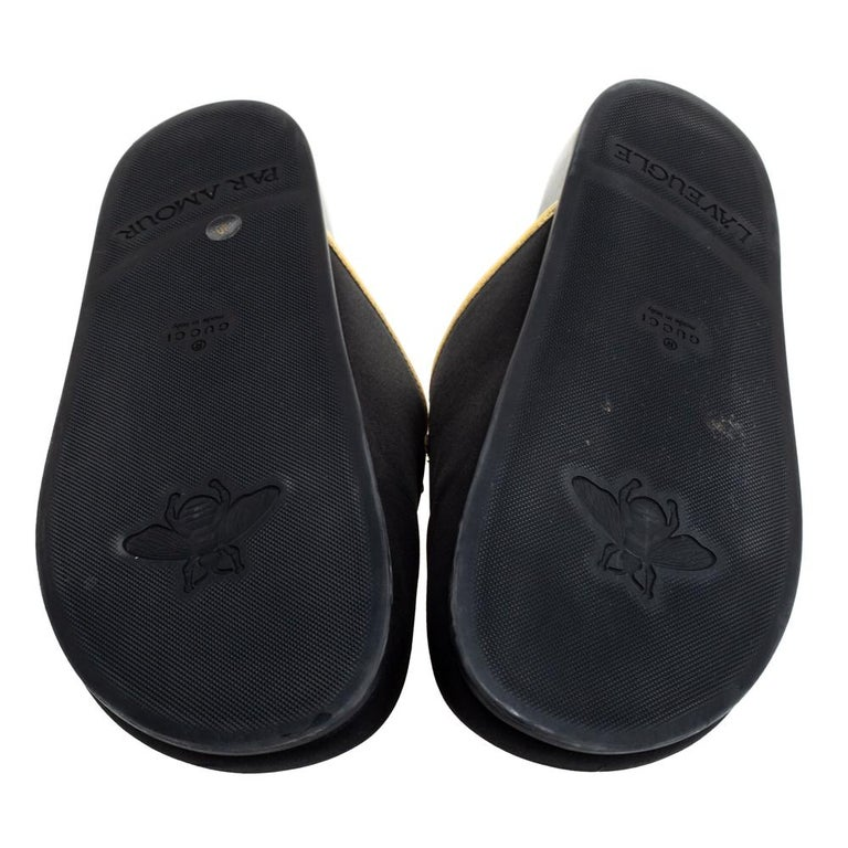 Gucci Black Satin Embroidered Horsebit Mules Size 40 For Sale 2