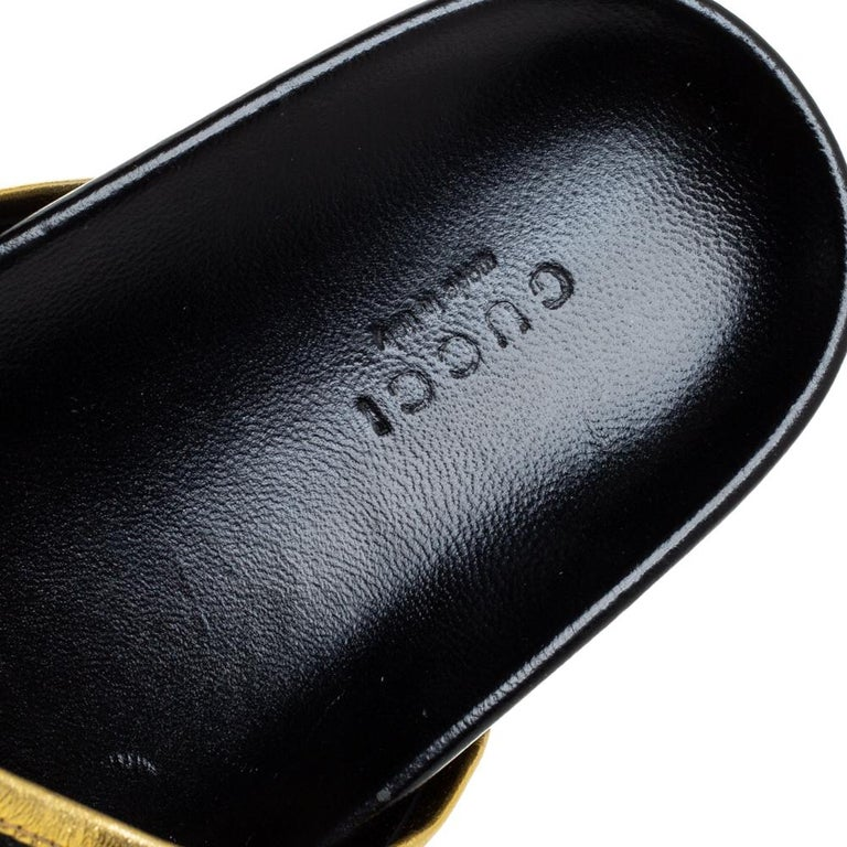 Gucci Black Satin Embroidered Horsebit Mules Size 40 For Sale 3