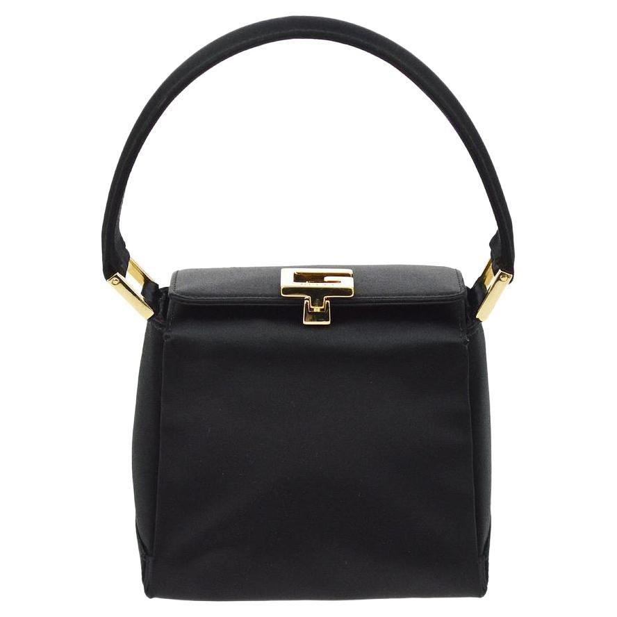 Gucci Black Satin Gold Logo Small Mini Evening Top Handle Satchel Square Bag