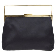 Gucci Black Satin Gold Mini Small Evening Top Handle Pochette Bag