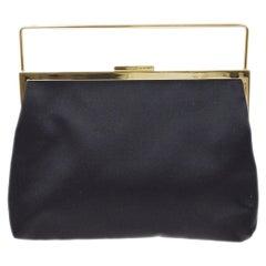 Gucci Black Satin Gold Mini Small Evening Top Handle Pochette Bag