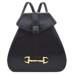 Gucci Black Satin Horsebit Rhinestone Evening Gold Small Mini Backpack