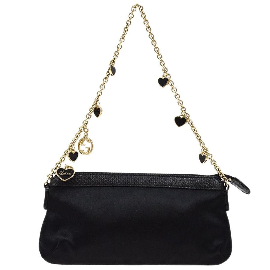 Gucci Black Satin Leather Charms Chain Small Pochette Top Handle Satchel Bag
