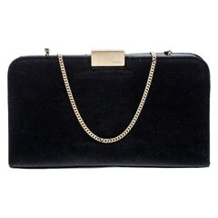 Gucci Black Satin Push Lock Chain Clutch