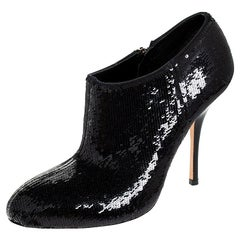Gucci Black Sequins Zip Ankle Booties Size 36