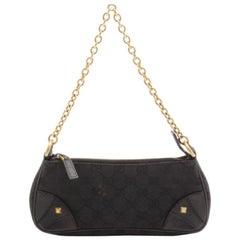 "Gucci Black Signature ""GG"" Canvas Chain Link Nailhead Pochette Handbag"