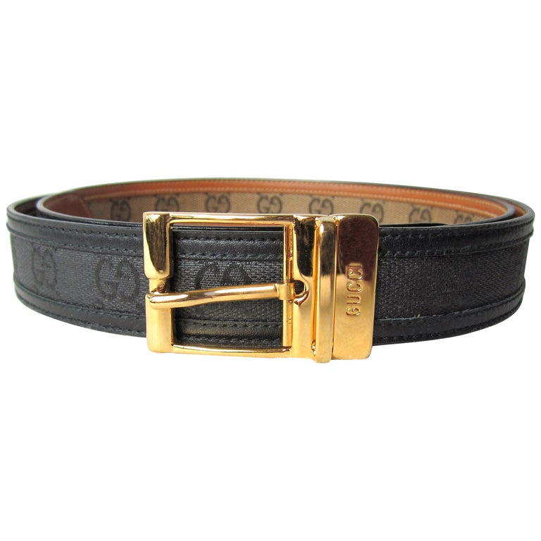 Gucci Black Signature GG Canvas & Leather Belt Never Worn w/ Tags Unisex 1990s For Sale