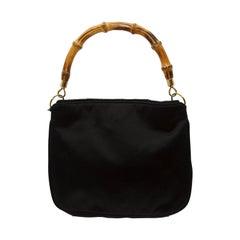 Gucci Black Silk Bamboo Handle Convertible Handbag