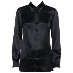Gucci Black Silk Button Front Shirt S
