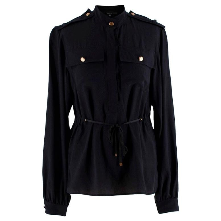 Gucci Black Silk Button Up Military Shirt - Size US4