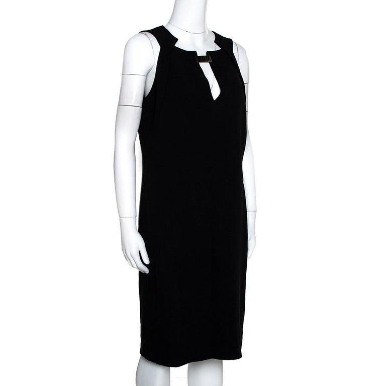 Gucci Black Silk Crepe Keyhole Neckline Dress L In Good Condition In Dubai, Al Qouz 2