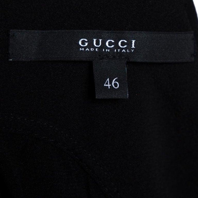 Gucci Black Silk Crepe Keyhole Neckline Dress L 2