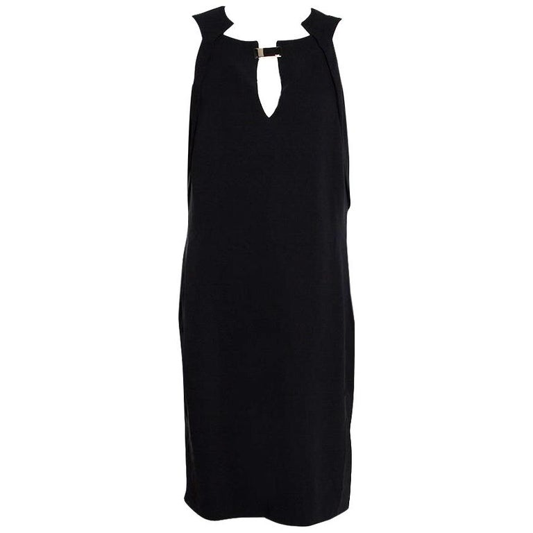 Gucci Black Silk Crepe Keyhole Neckline Dress L
