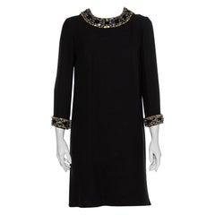 Gucci Black Silk Embellished Detail Shift Dress M