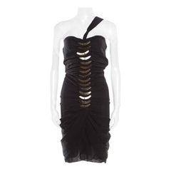 Gucci Black Silk Metal Fish Bone Embellished Ruched Dress M