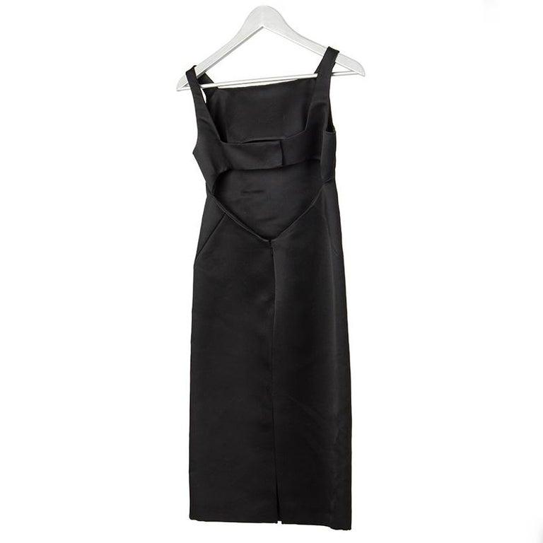 Black GUCCI black silk OPEN BACK Cocktail Dress 38 For Sale