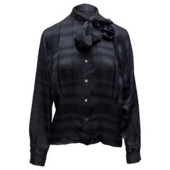 Gucci Black Silk Pussy Bow Blouse