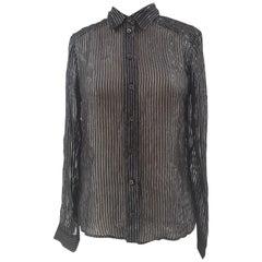Gucci black silver see-through silk shirt