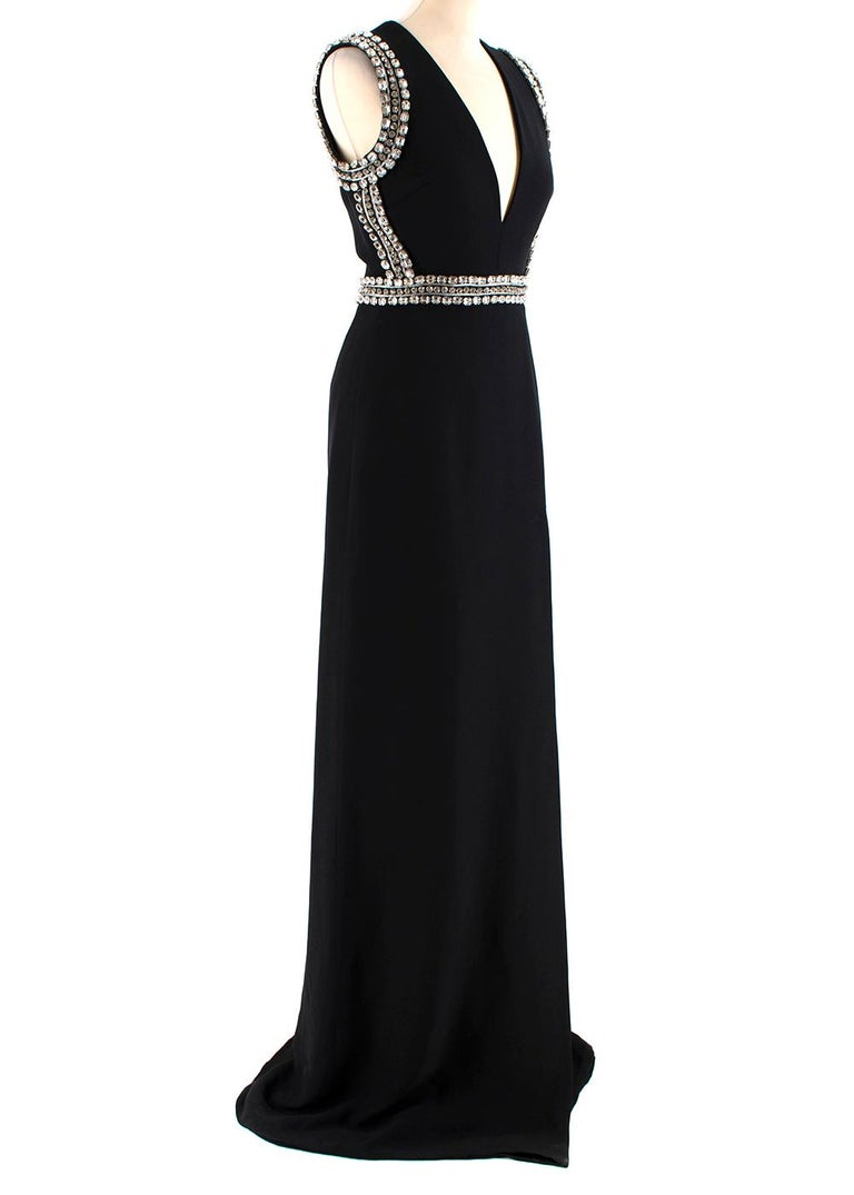 Gucci Black Sleeveless Crystal Embellished Gown  - Gown - Featuring crystal embellishment - The sleeves and bodice feature silver piping and gem embellishment - Zip at the back of the garment   Made in Italy  Measurements are taken with the item