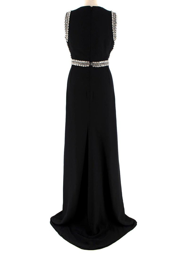 Gucci Black Sleeveless Crystal Embellished Gown - Size US 2 In Excellent Condition For Sale In London, GB