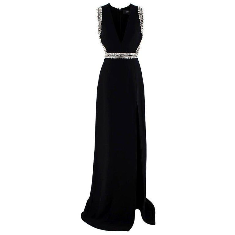 Gucci Black Sleeveless Crystal Embellished Gown - Size US 2 For Sale