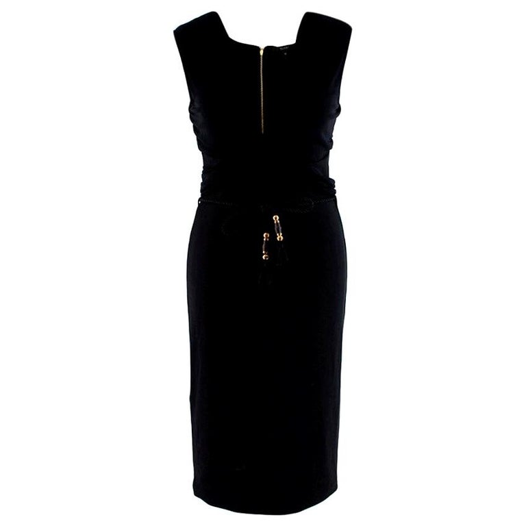 Gucci Black Sleeveless Dress With Rope Belt - Size M For Sale