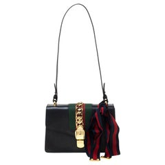 Gucci Black Small Leather Web Chain Sylvie Shoulder Bag