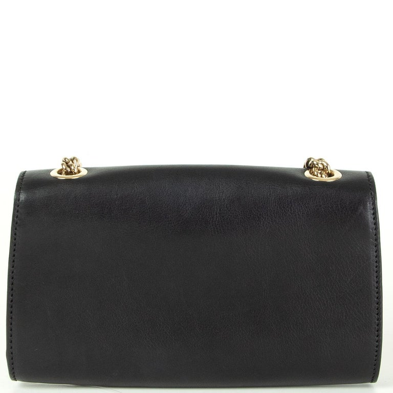 Black GUCCI black smooth leather EMILY SMALL CHAIN Shoulder Bag