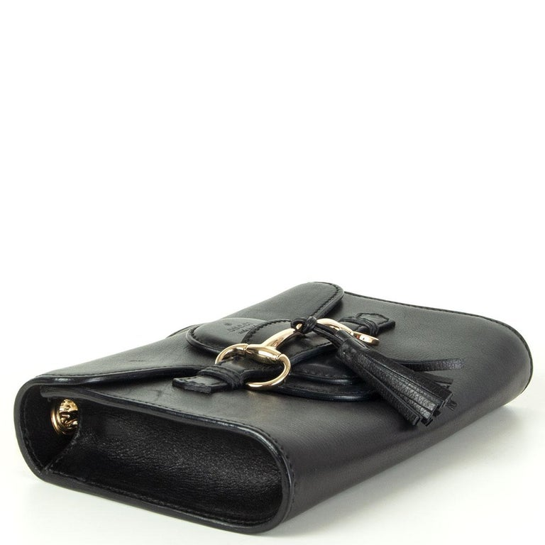 GUCCI black smooth leather EMILY SMALL CHAIN Shoulder Bag In Excellent Condition In Zürich, CH