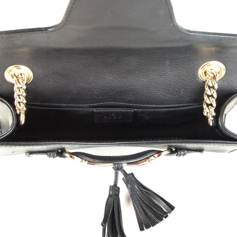 Women's GUCCI black smooth leather EMILY SMALL CHAIN Shoulder Bag
