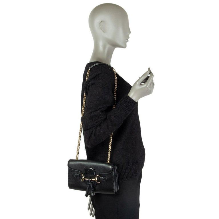 GUCCI black smooth leather EMILY SMALL CHAIN Shoulder Bag 3