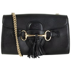 GUCCI black smooth leather EMILY SMALL CHAIN Shoulder Bag