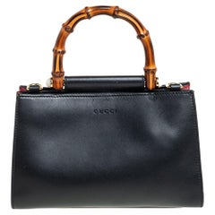 Gucci Black Smooth Leather Mini Nymphaea Bamboo Top Handle Bag