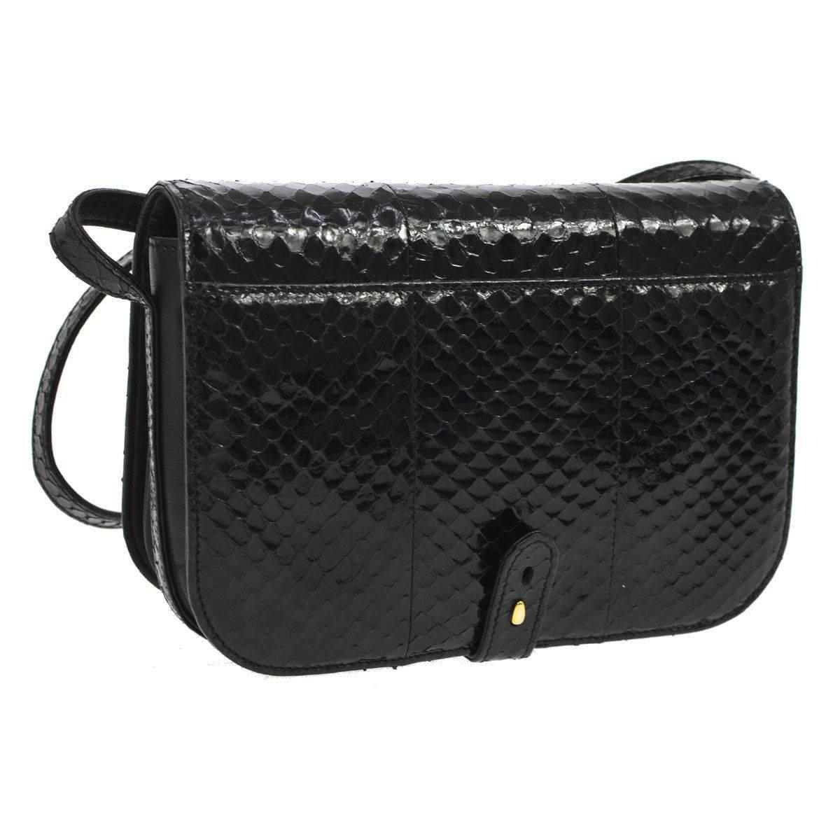 Gucci Black Snakeskin Leather Gold Evening Saddle Crossbody Shoulder Flap Bag hQfW02