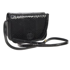 Gucci Black Snakeskin Leather Gold Evening Saddle Crossbody Shoulder Flap Bag