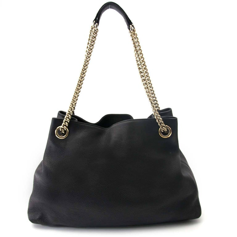 226ef62cec5 Gucci Black Soho Large Leather Double-Chain-Strap Shoulder Bag In Excellent  Condition For