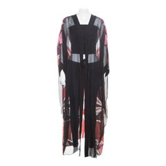 Gucci Black Stained Glass Metallic Jacquard Silk Chiffon Sheer Kaftan S