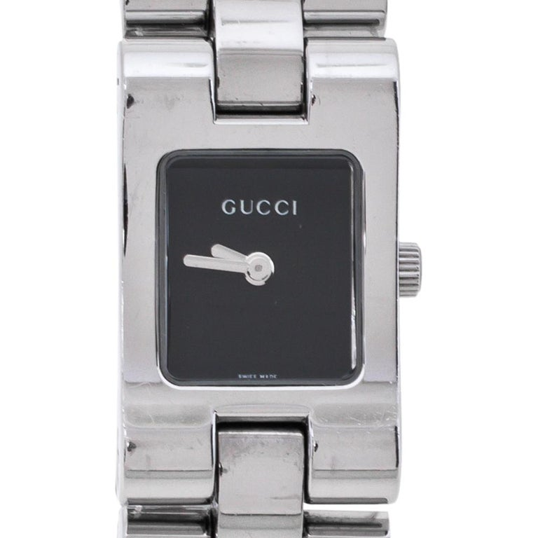 Gucci Black Stainless Steel 2305L Women's Wristwatch 17 MM In Good Condition For Sale In Dubai, Al Qouz 2
