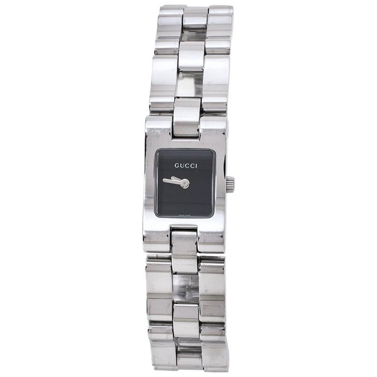 Gucci Black Stainless Steel 2305L Women's Wristwatch 17 MM For Sale