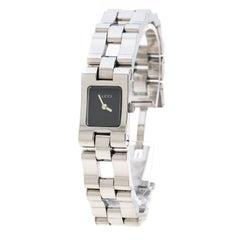 Gucci Black Stainless Steel 6305L Women's Wristwatch 17 mm
